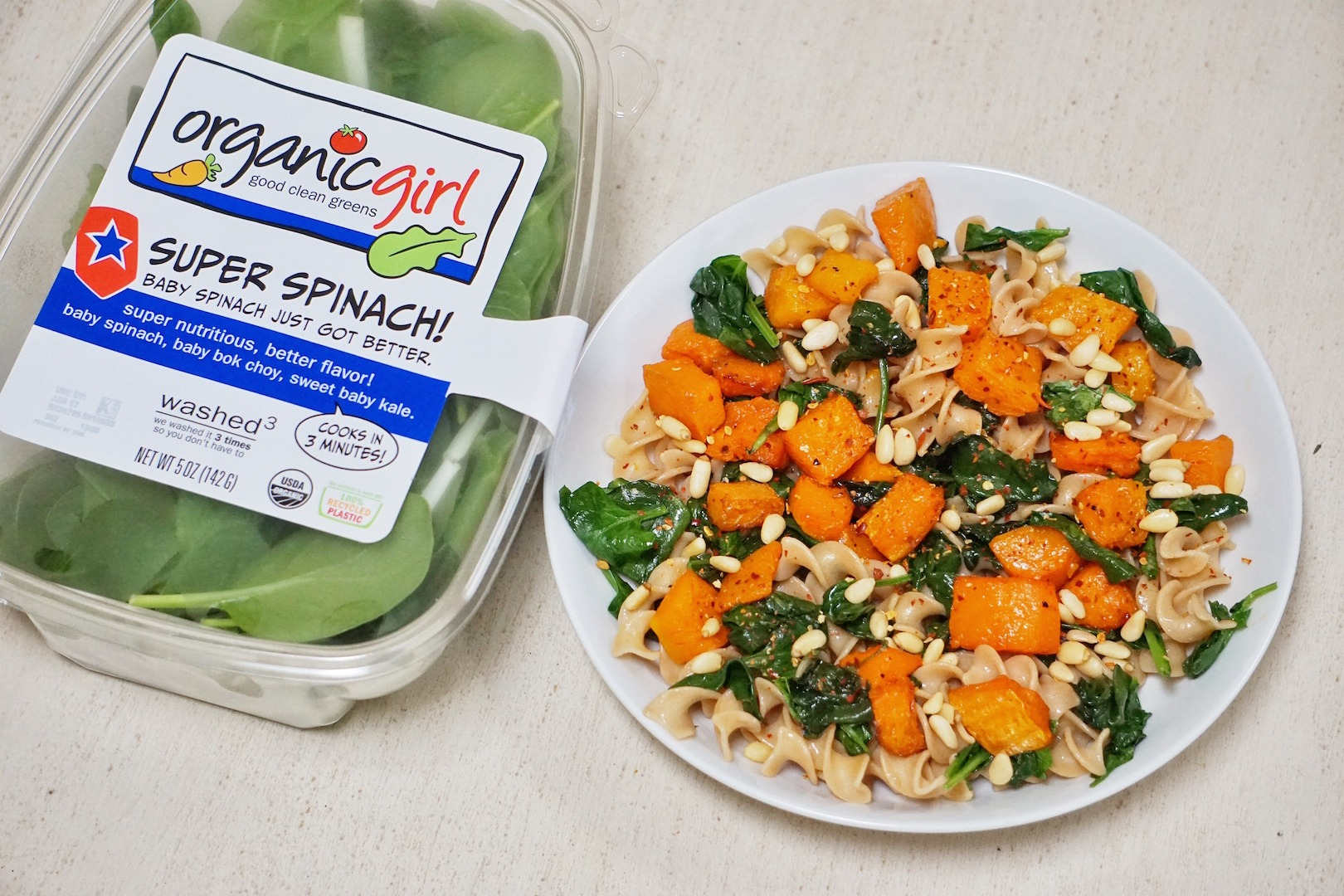 Butternut Squash and Spinach Pasta Leahs Plate - Butternut Squash and Spinach Pasta (V + GF)