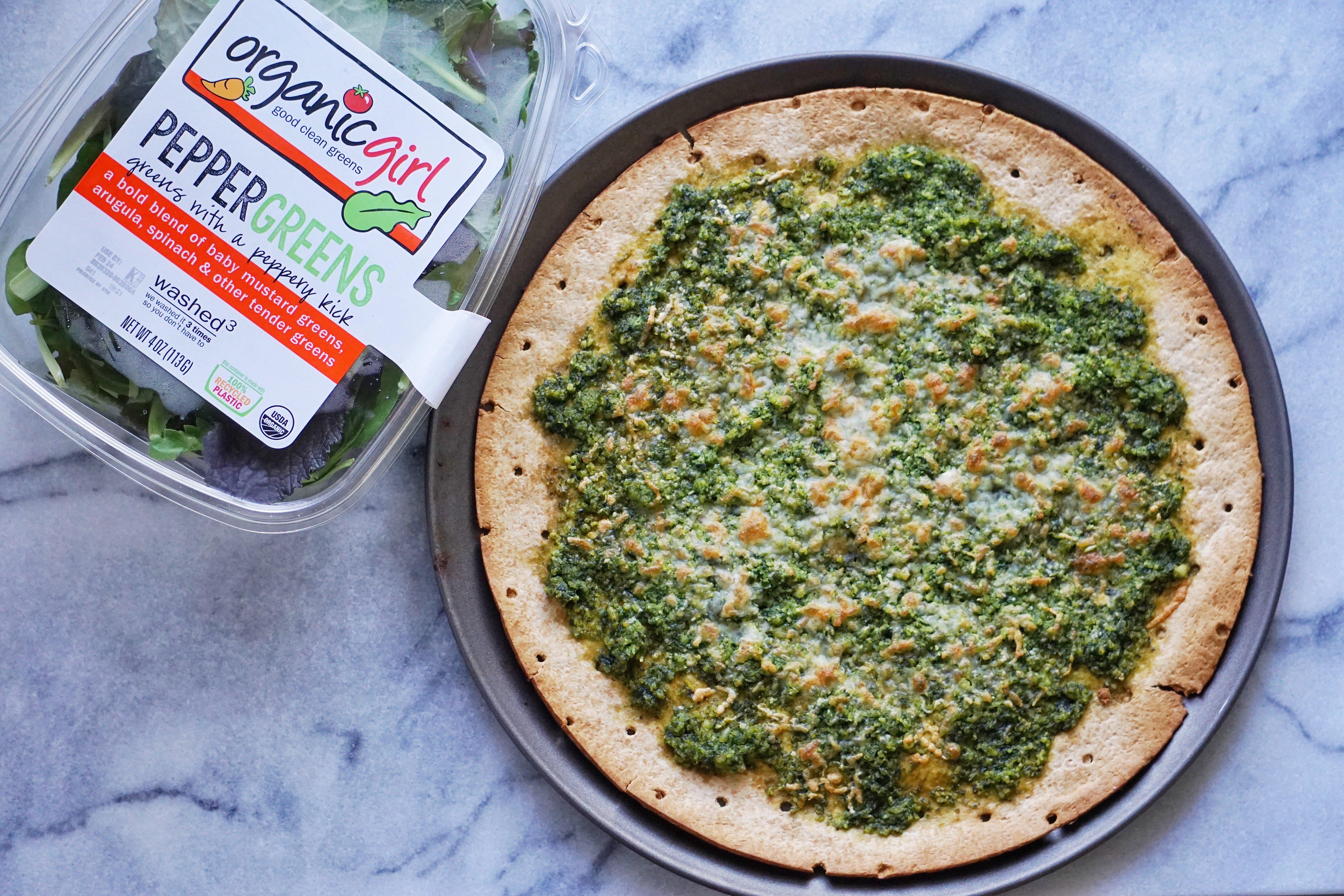 Pesto Pizza Leahs Plate - Green Pesto Pizza