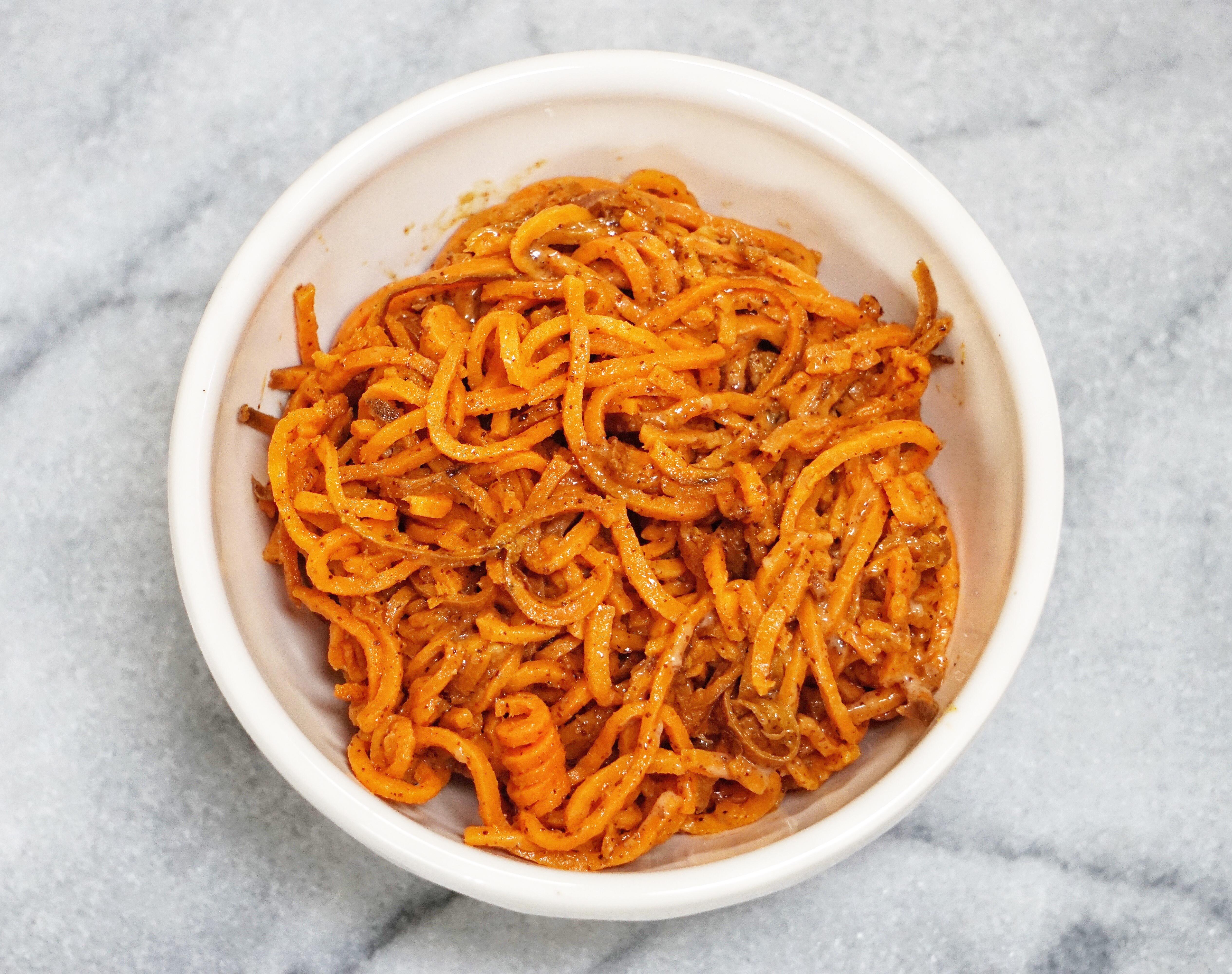 Sweet Potato Noodles with Honey Almond Butter Dressing Leahs Plate10 - Sweet Potato Noodles with a Honey Almond Butter Sauce