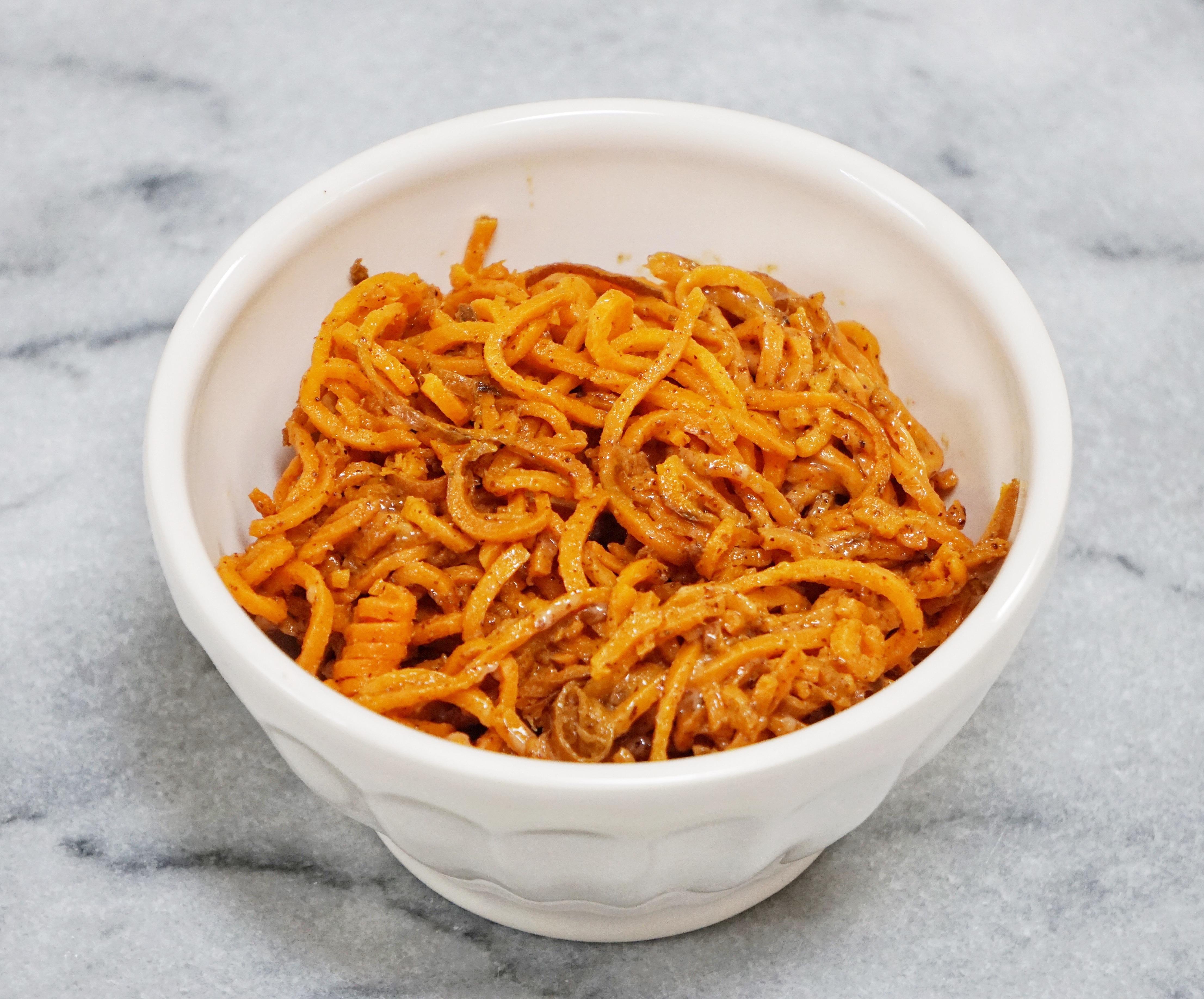 Sweet Potato Noodles with Honey Almond Butter Dressing Leahs Plate9 - Sweet Potato Noodles with a Honey Almond Butter Sauce