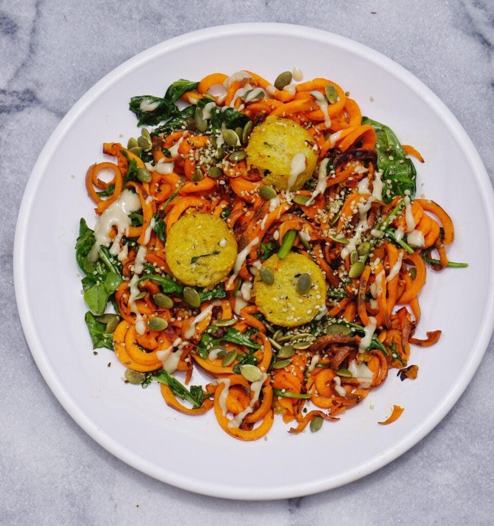 Sweet Potato Noodles Leahs Plate 962x1024 - Sweet Potato Noodle Stir Fry