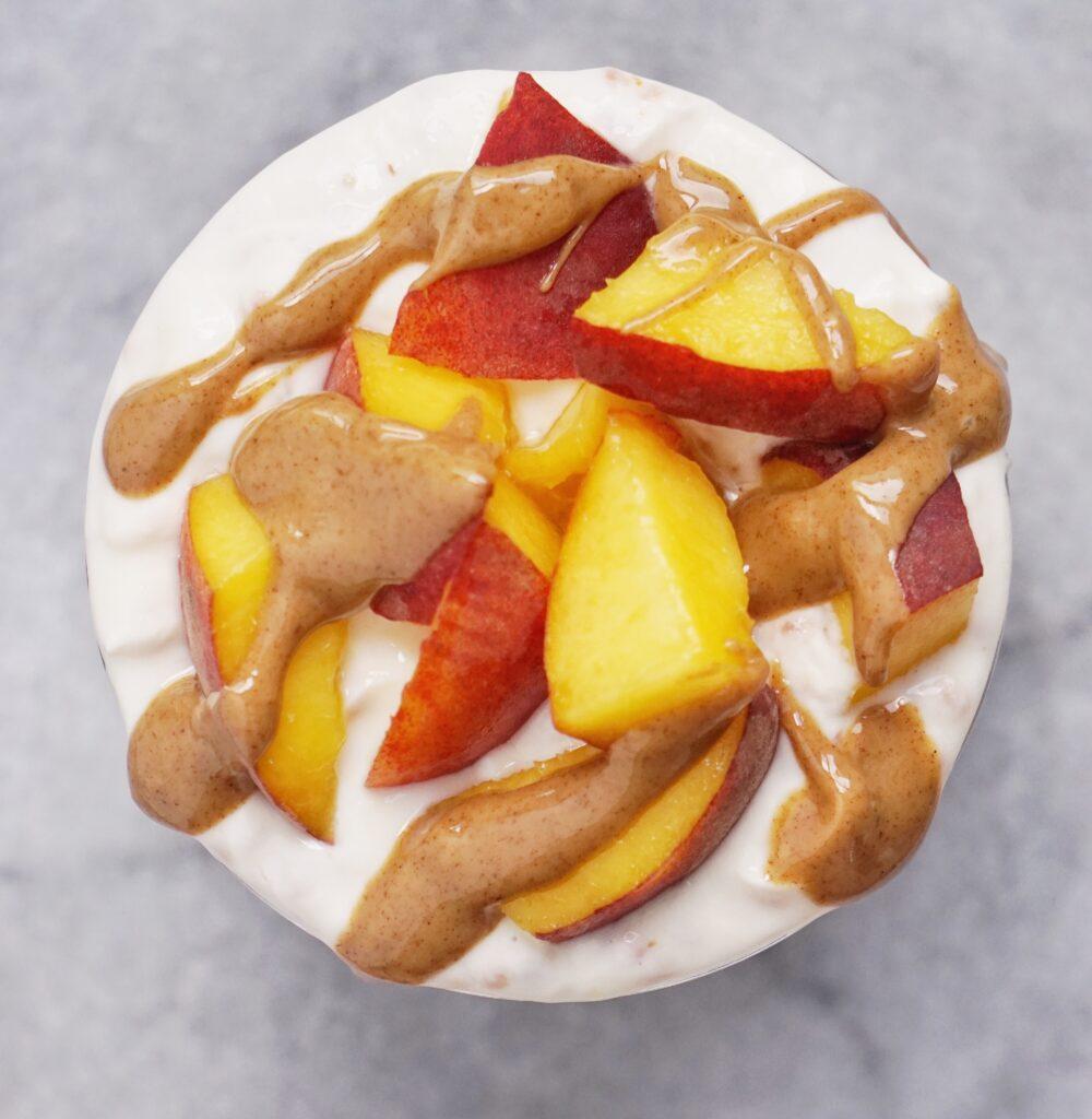 Peachy Oat Yogurt Parfait by Leah's Plate