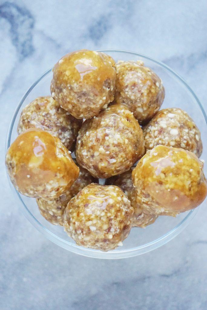 Salted Caramel Donut Holes (Vegan & Gluten Free) (No Bake)