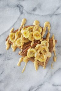Paleo Chocolate Protein Crepes with Caramelized Bananas