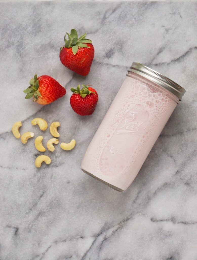 Strawberry Cashew Milk3 778x1024 - Perfectly Creamy Vegan Strawberry Cashew Milk