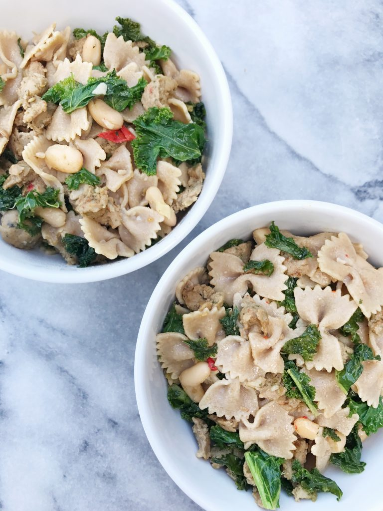 Garlicky Whole Wheat Pasta with Kale, White Beans & Chicken Sausage