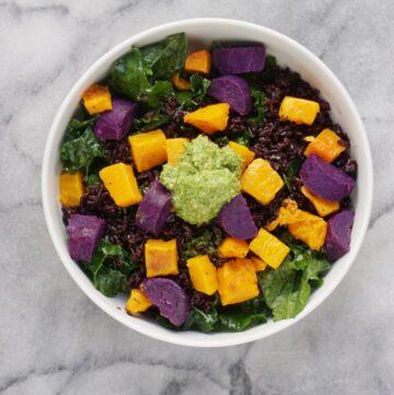 Coconut Black Rice Superfood Bowl with Pumpkin Seed Pesto (Vegan & GF)