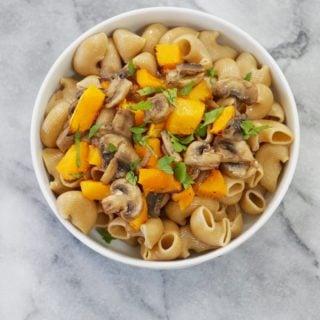 Caramelized Shallot, Mushroom & Butternut Squash Garlicky Pasta (Vegan)
