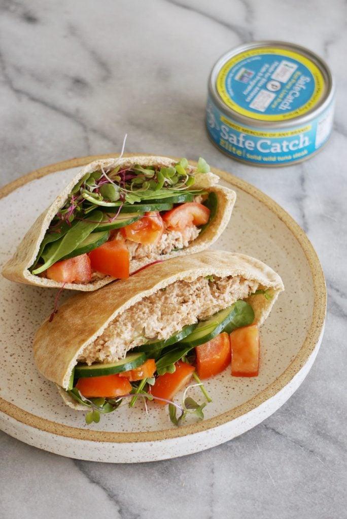 tuna pita 684x1024 - Healthy Tuna Salad Pita