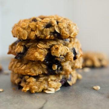 gluten-free blueberry honey oat breakfast cookies