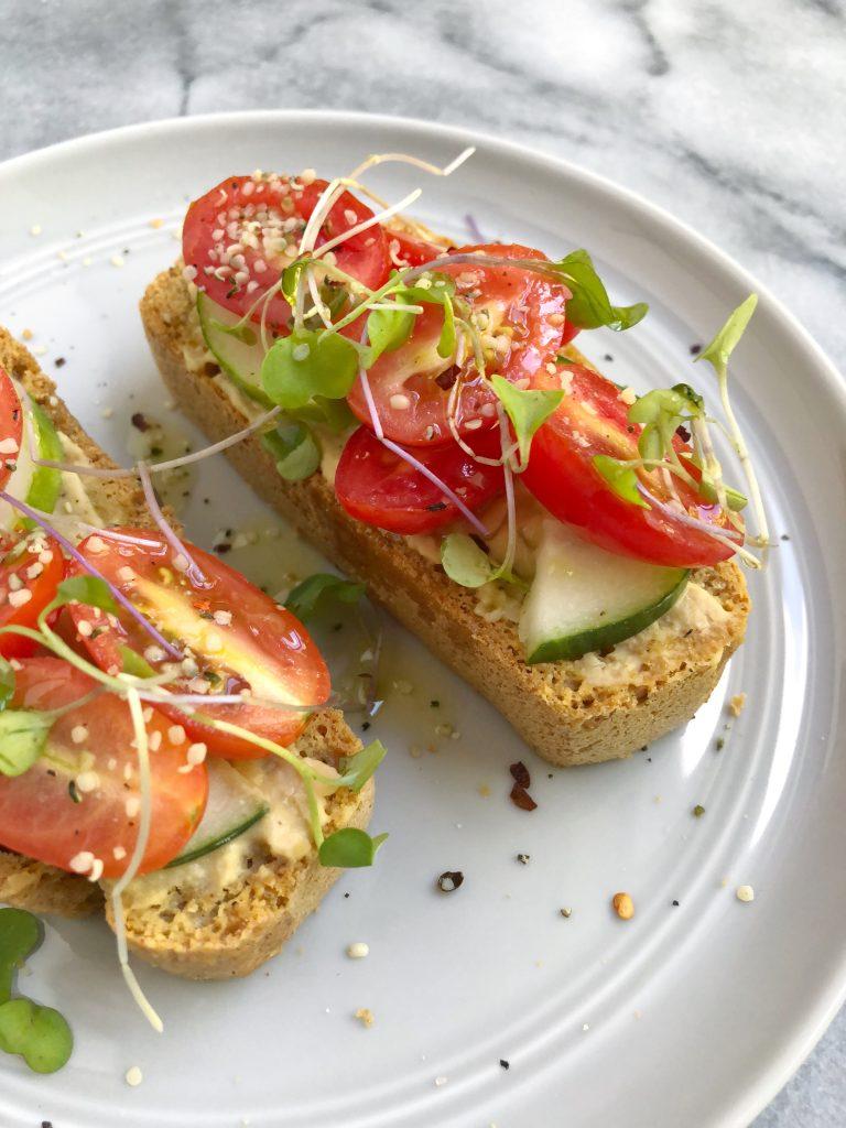 toast 768x1024 - Hummus Cucumber Tomato Toast