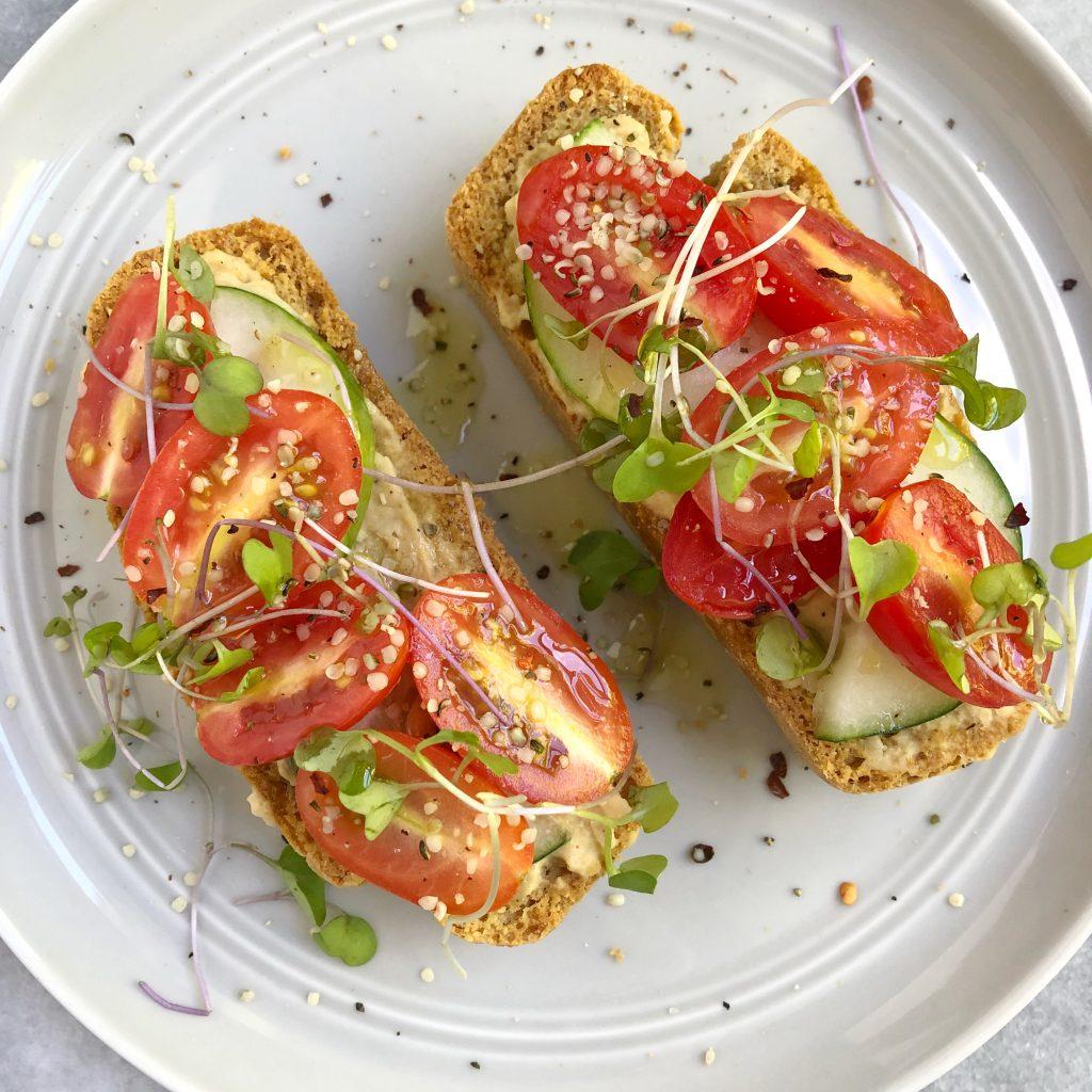 toast2 1024x1024 - Hummus Cucumber Tomato Toast