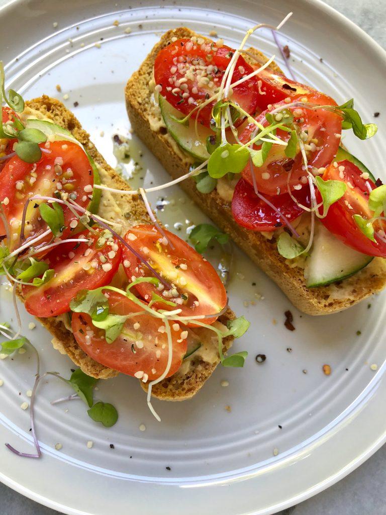 toast3 768x1024 - Hummus Cucumber Tomato Toast
