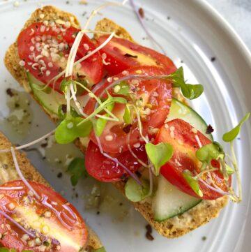 Hummus Cucumber & Tomato Toast