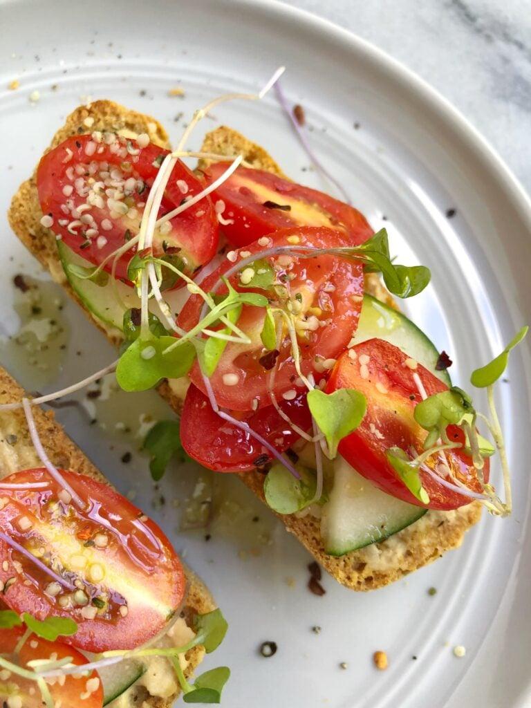 toast5 768x1024 - Hummus Cucumber Tomato Toast