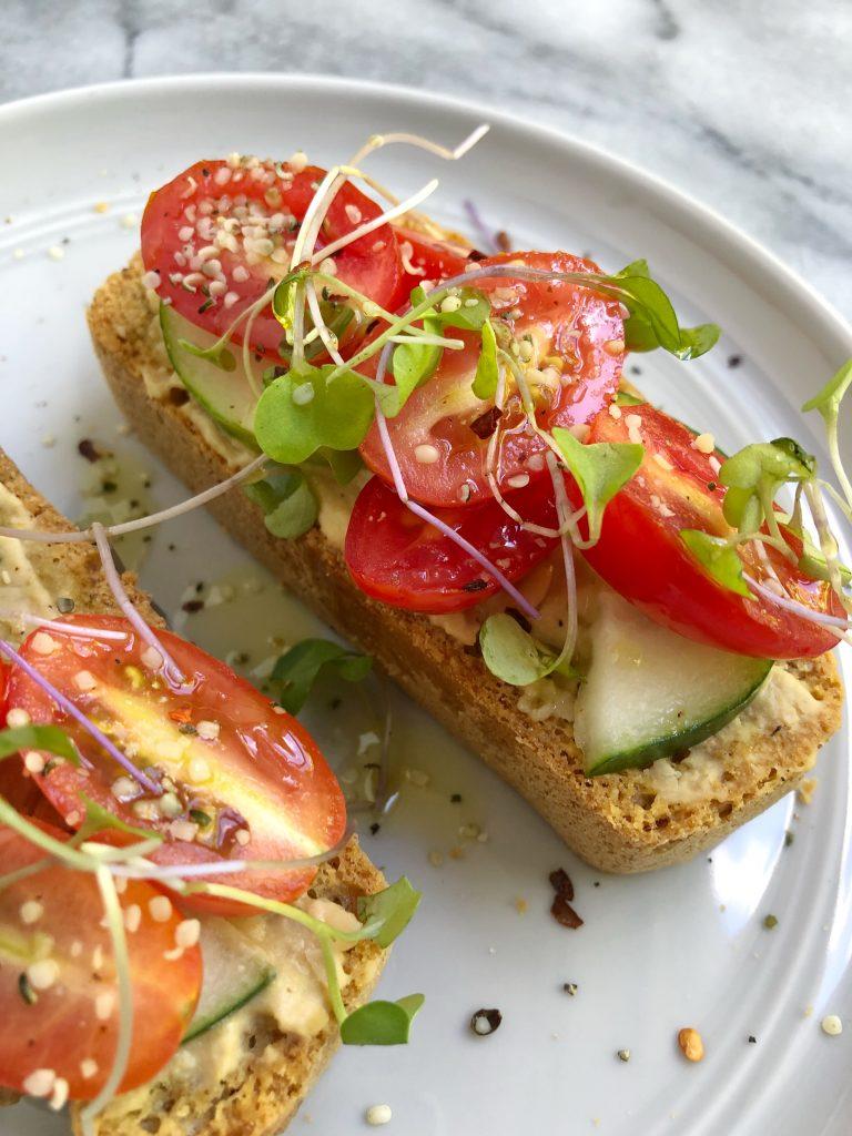 Hummus Cucumber Tomato Toast Vegan