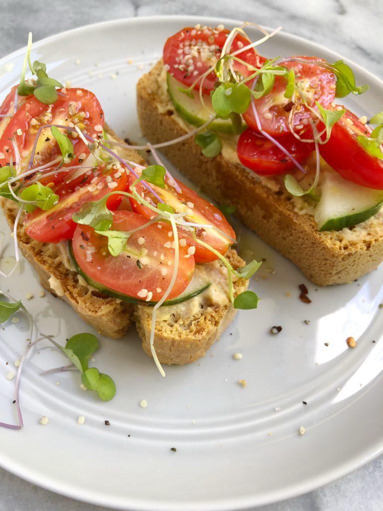 toast7 768x1024 - Hummus Cucumber Tomato Toast