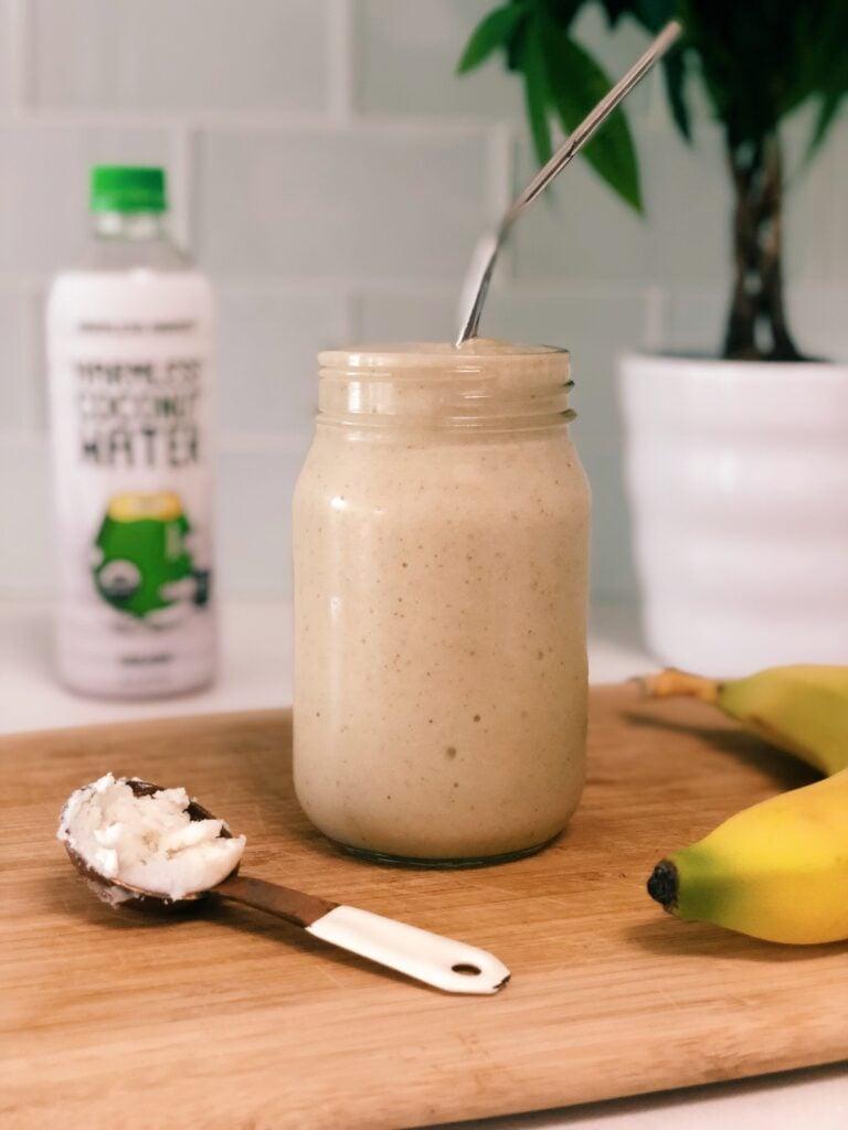 harmless harvest 768x1024 - Coconutty Banana Smoothie (Vegan & GF)