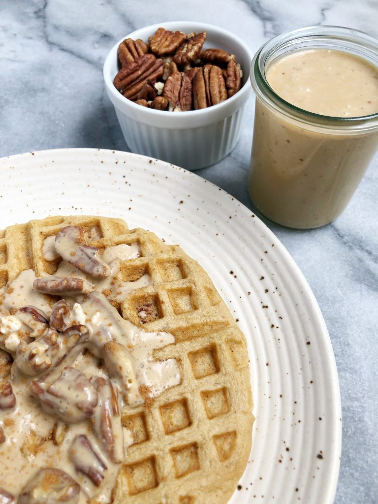 paleo pecan waffle 2 768x1024 - Paleo Pecan Waffles with a Pecan Praline Sauce