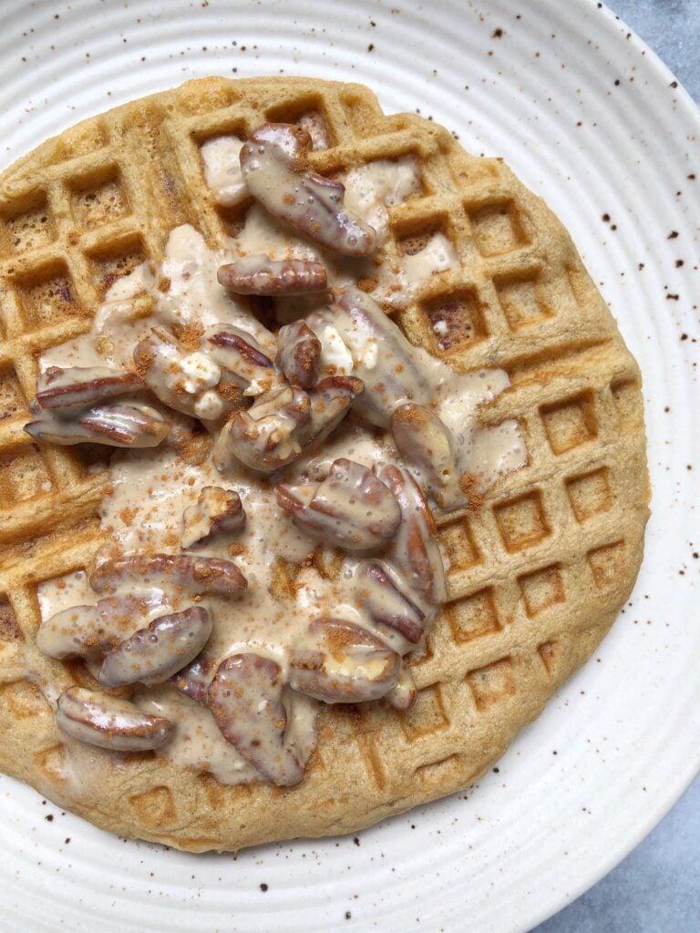 paleo pecan waffle 768x1024 - Paleo Pecan Waffles with a Pecan Praline Sauce