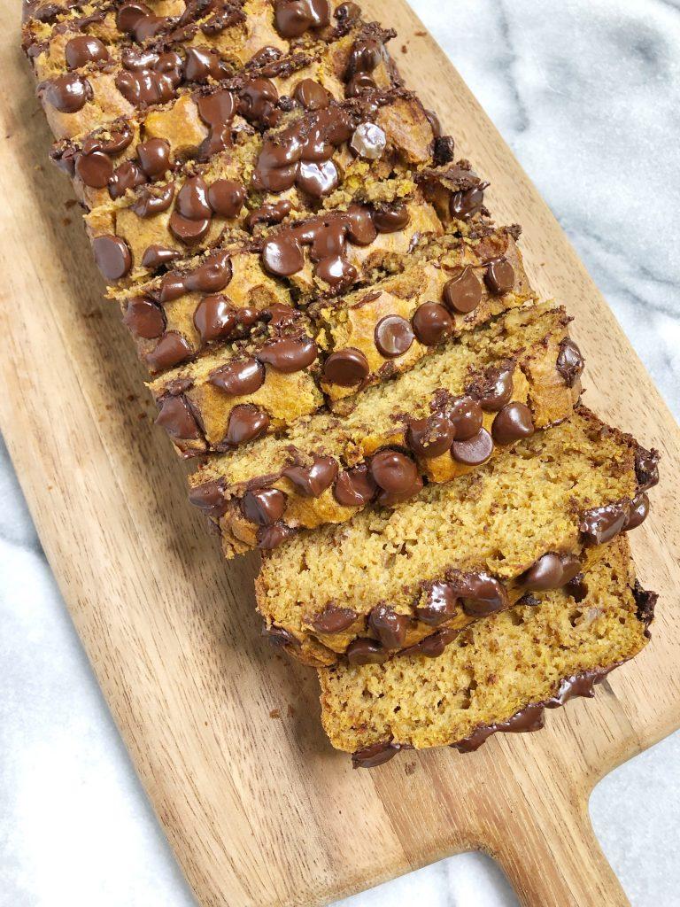 chocolate chip pumpkin bread 3 768x1024 - Chocolate Chip Peanut Butter Pumpkin Banana Bread