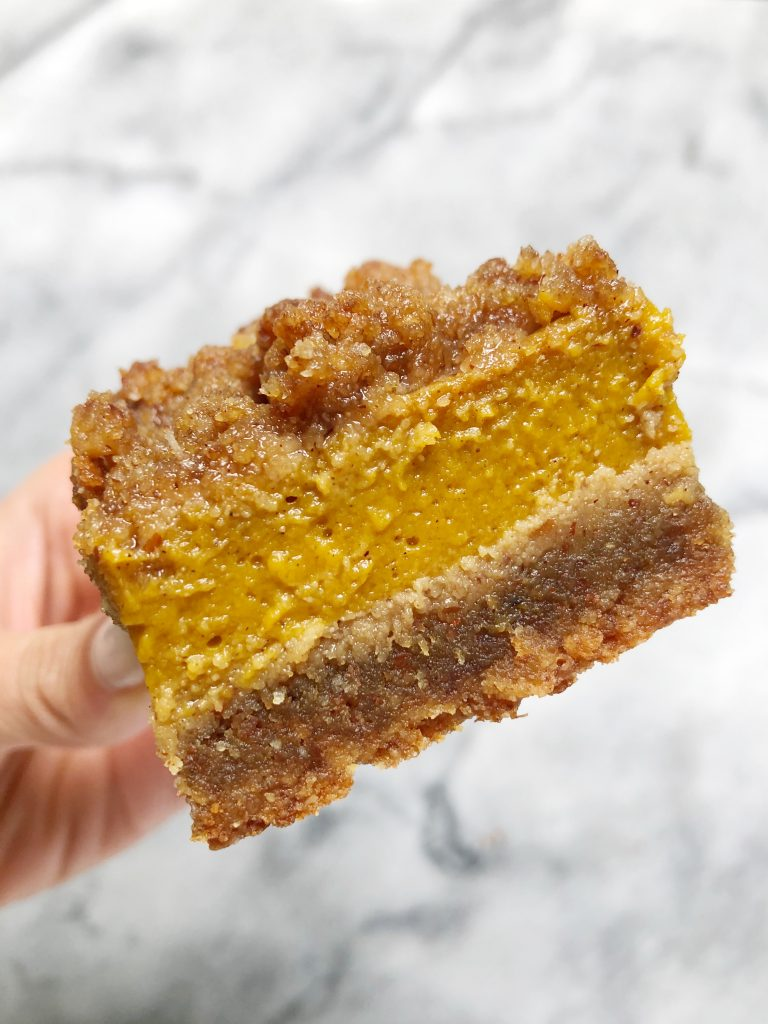 pumpkin bars 768x1024 - Pumpkin Pie Crumble Bars (Paleo)