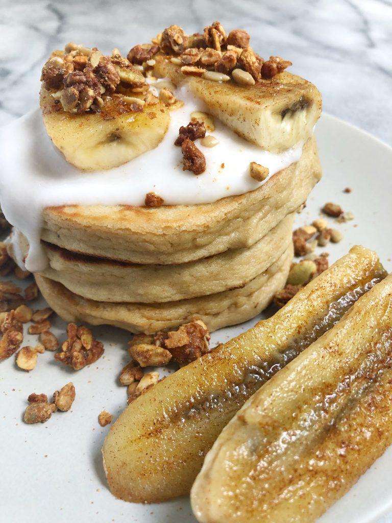 Purely Elizabeth 2 768x1024 - Paleo Pancakes with Coconut Yogurt, Caramelized Banana & Grain-Free Granola