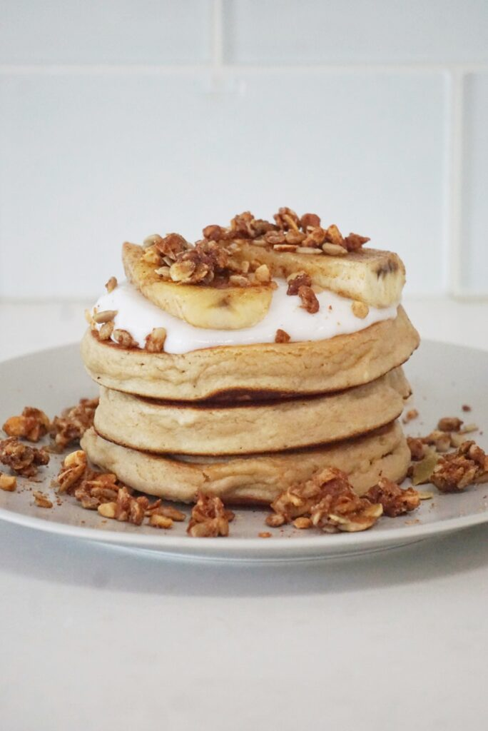 Purely Elizabeth 4 684x1024 - Paleo Pancakes with Coconut Yogurt, Caramelized Banana & Grain-Free Granola