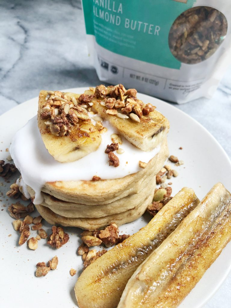 Purely Elizabeth 5 768x1024 - Paleo Pancakes with Coconut Yogurt, Caramelized Banana & Grain-Free Granola