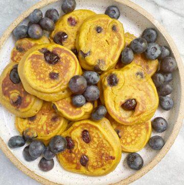 Mini Sweet Potato Blueberry Pancakes (Gluten-Free)