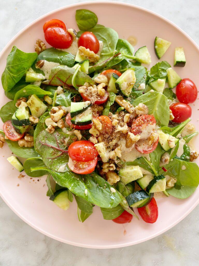My Favorite Simple Salad + Homemade Dressing (Vegan)