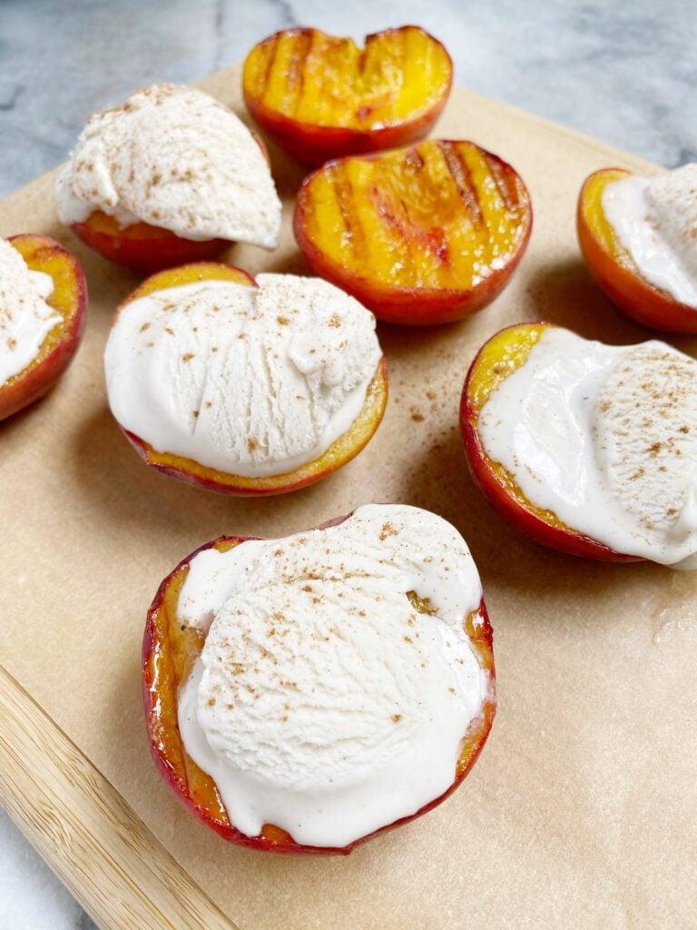 Grilled Peaches with Vanilla Bean Ice Cream