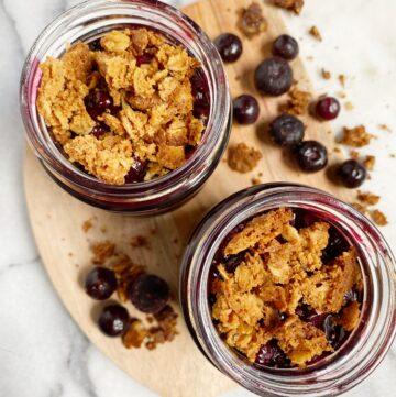 Vegan & GF Mini Blueberry Crisp Jars