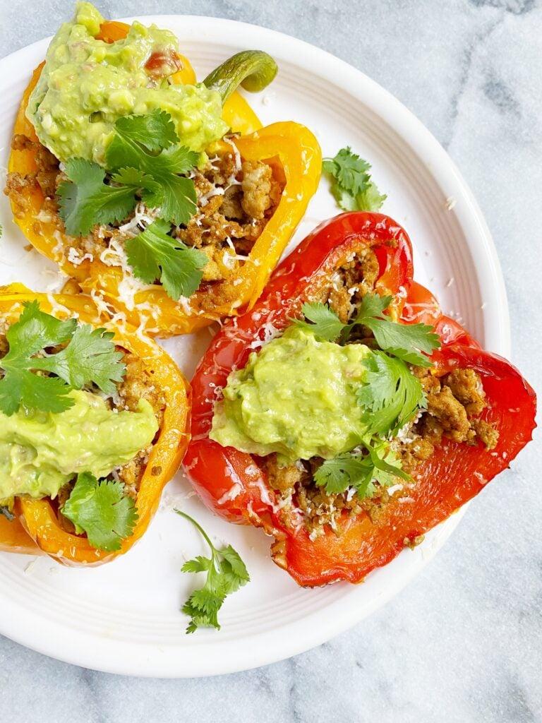 Healthy Taco Meat Stuffed Peppers (gluten-free & grain-free)