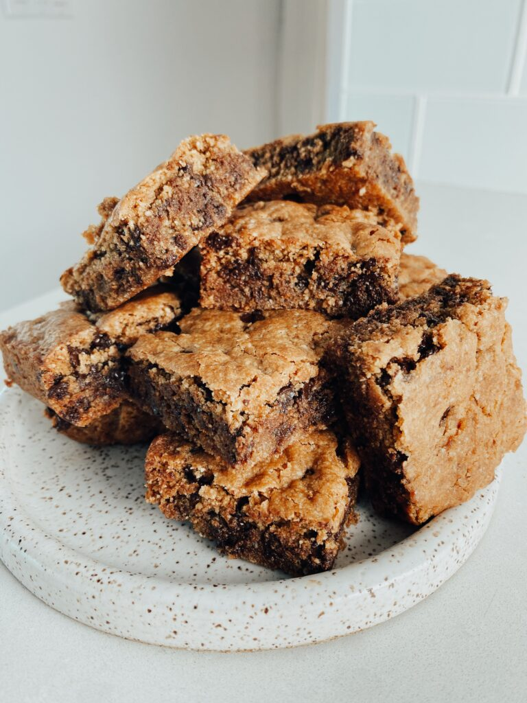 Chocolate Chip Cookie Bars on a plate