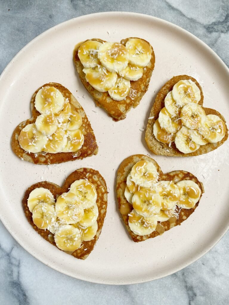 Heart-Shaped Paleo Pancakes for Valentine's Day
